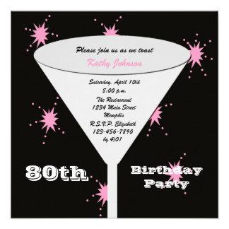80 o Invitación de la fiesta de cumpleaños -- Piqu
