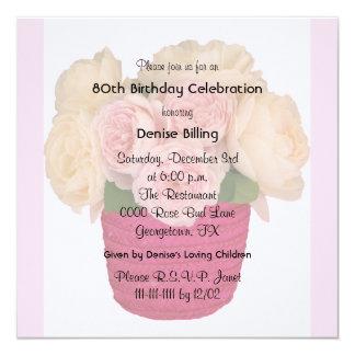 80.o Invitación de la fiesta de cumpleaños - rosas