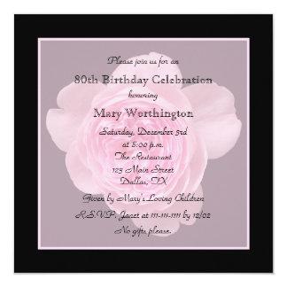 80.o Invitación de la fiesta de cumpleaños - subió Invitación 13,3 Cm X 13,3cm