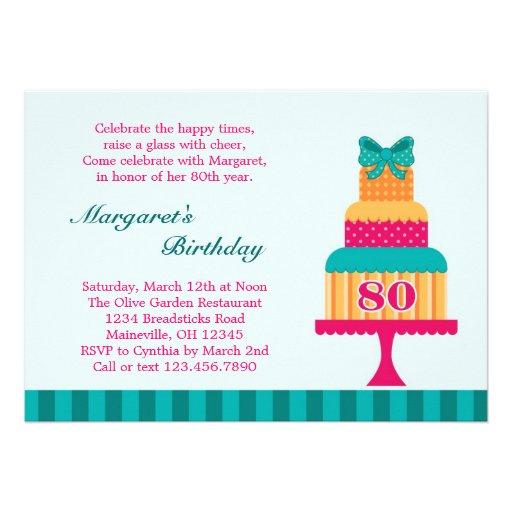 80.o Invitación de la torta de la fiesta de cumple