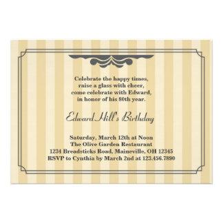 80.o Invitación elegante de la fiesta de cumpleaño