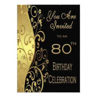 80 o Invitación personalizada de la fiesta de cump