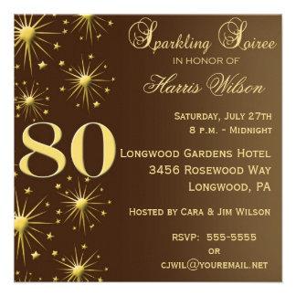 80 o Invitaciones del cumpleaños Comunicado Personalizado