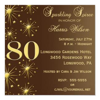 80.o Invitaciones del cumpleaños Invitación 13,3 Cm X 13,3cm