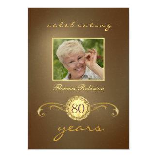 80.o Invitaciones del cumpleaños - monograma Invitación 12,7 X 17,8 Cm