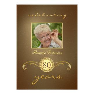 80 o Invitaciones del cumpleaños - monograma antig