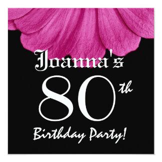 80.o Margarita rosada del cumpleaños Invitación 13,3 Cm X 13,3cm