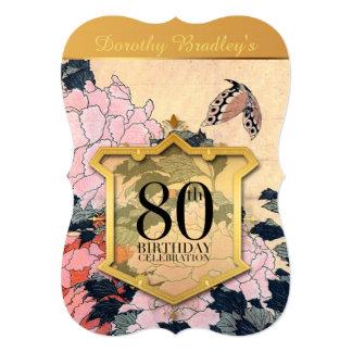 80.o Mariposa y Peonies de la celebración del Invitación 12,7 X 17,8 Cm