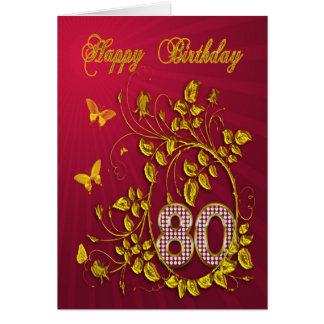 80.o Mariposas de oro del cumpleaños Tarjeta De Felicitación