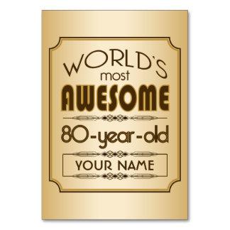 80.o mundo de la celebración del cumpleaños del or tarjeta