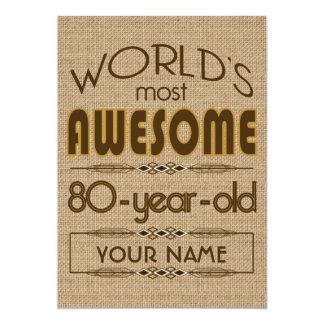 80.o Mundo de la celebración del cumpleaños mejor Invitación 12,7 X 17,8 Cm