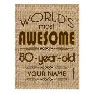 80.o Mundo de la celebración del cumpleaños mejor  Postal