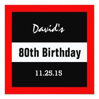 80.o Negro del cumpleaños con el personalizado Invitación 13,3 Cm X 13,3cm