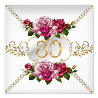 80.o Oro blanco de los rosas del rosa de la fiesta Invitación 13,3 Cm X 13,3cm