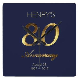 80.o Oro del aniversario del cumpleaños y elegante Reloj Cuadrado