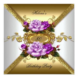 80.o Oro elegante de la púrpura de los rosas de la Invitación 13,3 Cm X 13,3cm