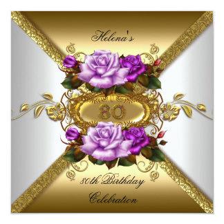 80.o Oro púrpura 2 de los rosas elegantes de la Invitación 13,3 Cm X 13,3cm