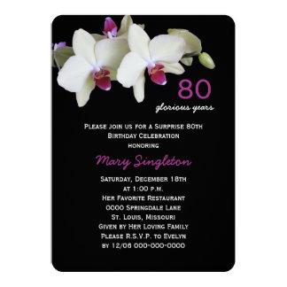 80.o Orquídeas de la fiesta de cumpleaños de la Invitación 12,7 X 17,8 Cm