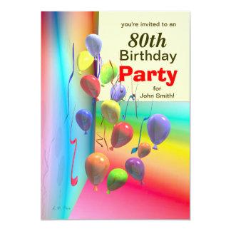 80.o Pared del globo de la fiesta de cumpleaños Invitación 12,7 X 17,8 Cm