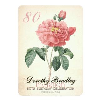 80.o personalizado subió vintage de la celebración invitación 12,7 x 17,8 cm