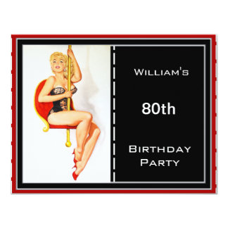 80.o Pin-para arriba rojo para hombre del negro de Invitación 10,8 X 13,9 Cm