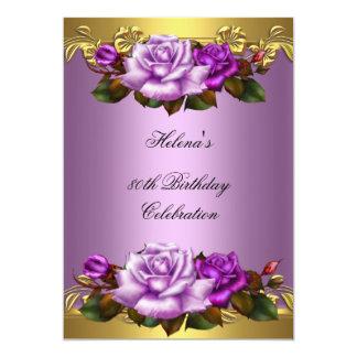 80.o Rosas púrpuras elegantes 2 del oro de la lila Invitación 12,7 X 17,8 Cm