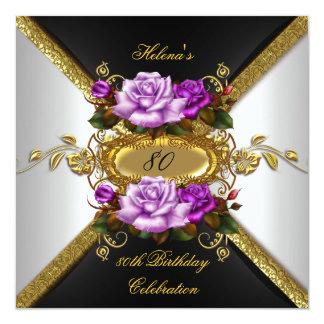 80.o Rosas púrpuras elegantes 4 del oro de la Invitación 13,3 Cm X 13,3cm