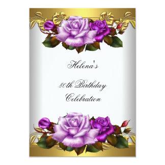 80.o Rosas púrpuras elegantes del oro de la fiesta Invitación 12,7 X 17,8 Cm