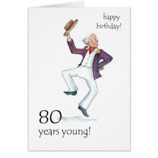 80.o ¡Tarjeta de cumpleaños - baile del hombre! Tarjeta De Felicitación