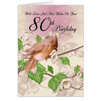 80.o Tarjeta de cumpleaños con el pájaro y el flor