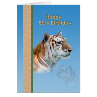 80.o Tarjeta de cumpleaños con el tigre