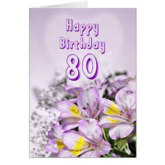 80.o Tarjeta de cumpleaños con las flores del