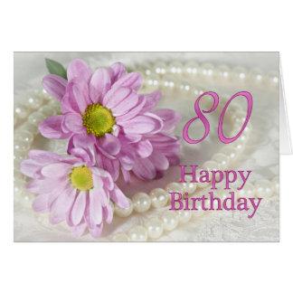 80.o Tarjeta de cumpleaños con las margaritas