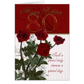 80 o Tarjeta de cumpleaños con los rosas