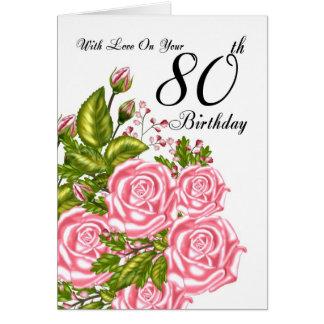 80.o Tarjeta de cumpleaños con los rosas rosados