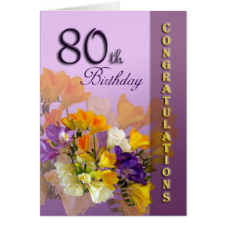 80.o Tarjeta de cumpleaños de la enhorabuena del c