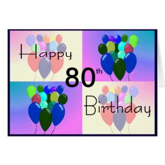80.o Tarjeta de cumpleaños - globos y