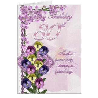 80 o Tarjeta de cumpleaños para una señora especia