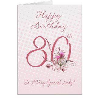 80 o Tarjeta de cumpleaños - rosas rosados - a A m