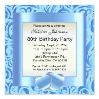 80.o Texto de la fiesta de cumpleaños |DIY Invitación 13,3 Cm X 13,3cm