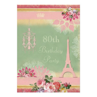 80 o Torre Eiffel y lámpara rosadas del cumpleaños