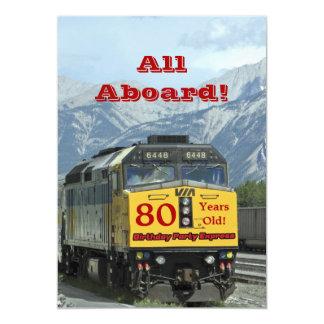 80.o Tren de ferrocarril de la invitación de la Invitación 12,7 X 17,8 Cm