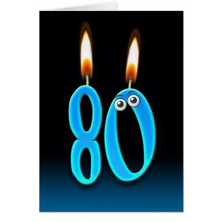 80.o Velas del cumpleaños Tarjeta De Felicitación