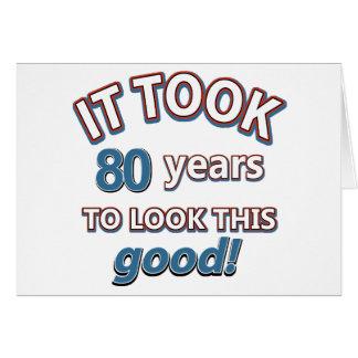 80.os diseños del cumpleaños del año tarjeta de felicitación