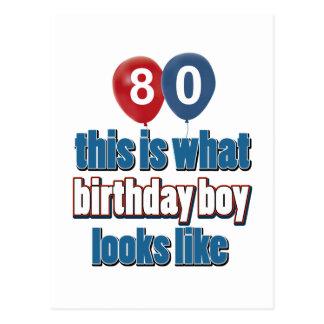 80.os diseños del cumpleaños del año tarjeta postal