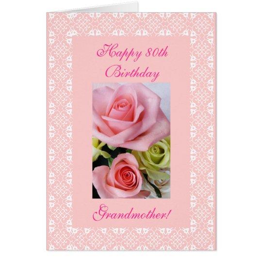 80.os (edad) rosas del cumpleaños de la abuela tarjeta de felicitación