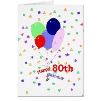 80.os globos coloridos del cumpleaños felicitacion