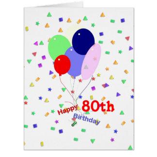 80.os globos coloridos del cumpleaños tarjeta de felicitación grande