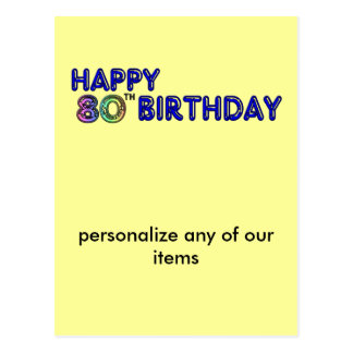 80.os regalos de cumpleaños y ropa felices del postal