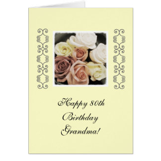 80.os rosas del cumpleaños de la abuela en colores felicitaciones
